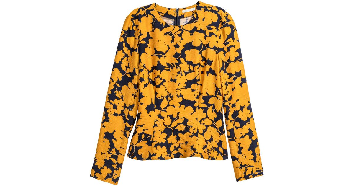 76ac5e8083b2d3 H M Long-sleeved Top in Yellow - Lyst