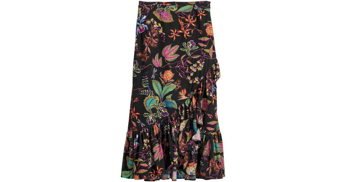 6b0fc79582 H&M Calf-length Flounced Skirt in Black - Lyst
