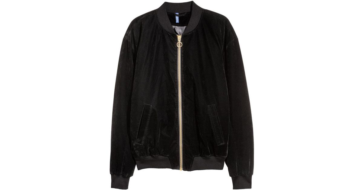 9469a2346 H&M Black Velour Bomber Jacket for men