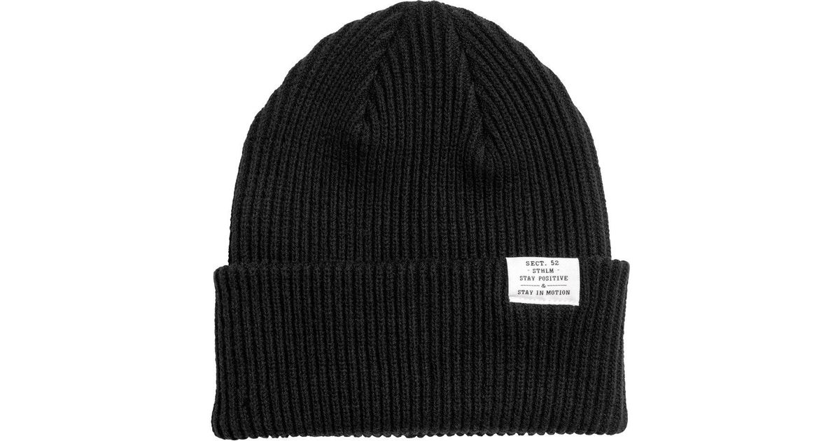 c529228a5 H&M Black Rib-knit Hat for men