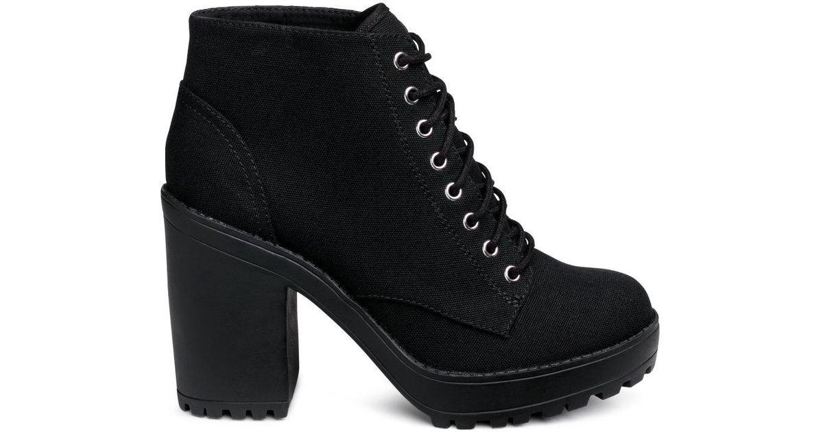 H\u0026M Canvas Platform Boots in Black - Lyst