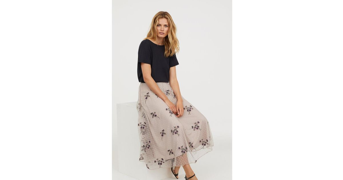 fc9d6beed3300a H&M Embroidered Mesh Skirt in Natural - Lyst