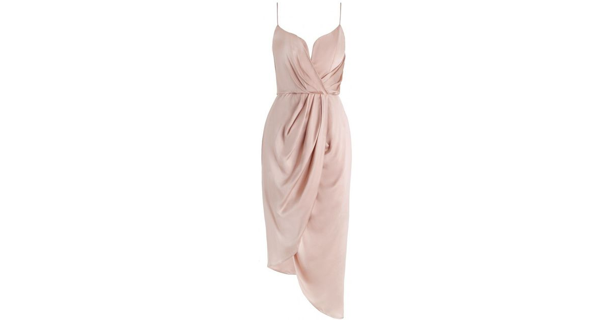 ebdb715076 Zimmermann Sueded Silk Plunge Short Dress in Pink - Lyst