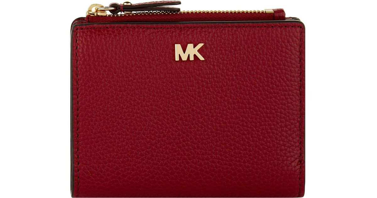 Lyst - MICHAEL Michael Kors Small Leather Snap Bifold Wallet in Red 3a2af6699