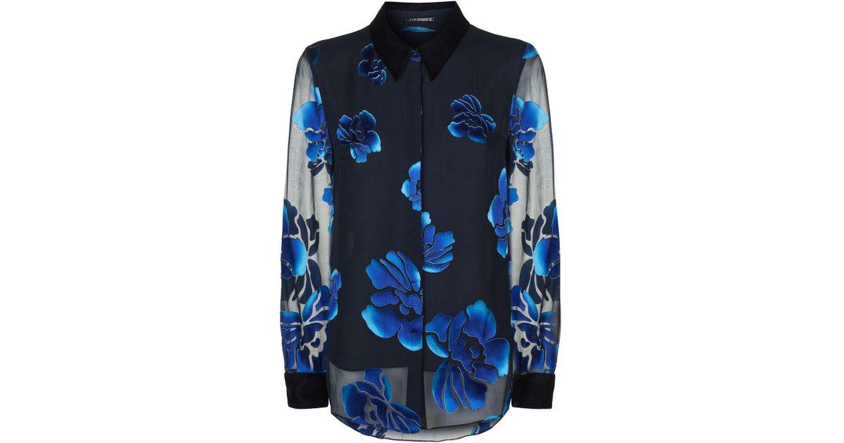 cb7f18040839ce Lyst - Elie Tahari Martha Floral Blouse in Blue