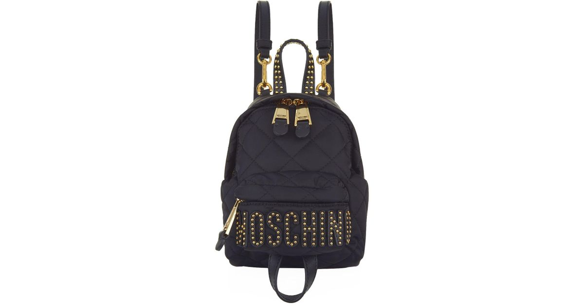 hot-selling fashion online retailer Sales promotion Moschino Black Mini Quilted Stud Logo Backpack