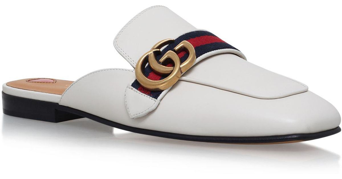 gucci leather slippers in white - save 6% - lyst