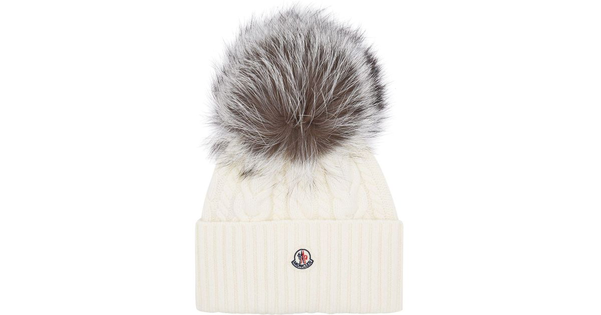 ed832a58a Moncler Fox Fur Bobble Hat in White - Lyst