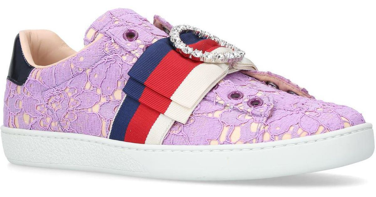 Gucci Lace New Ace Sneakers in Orange
