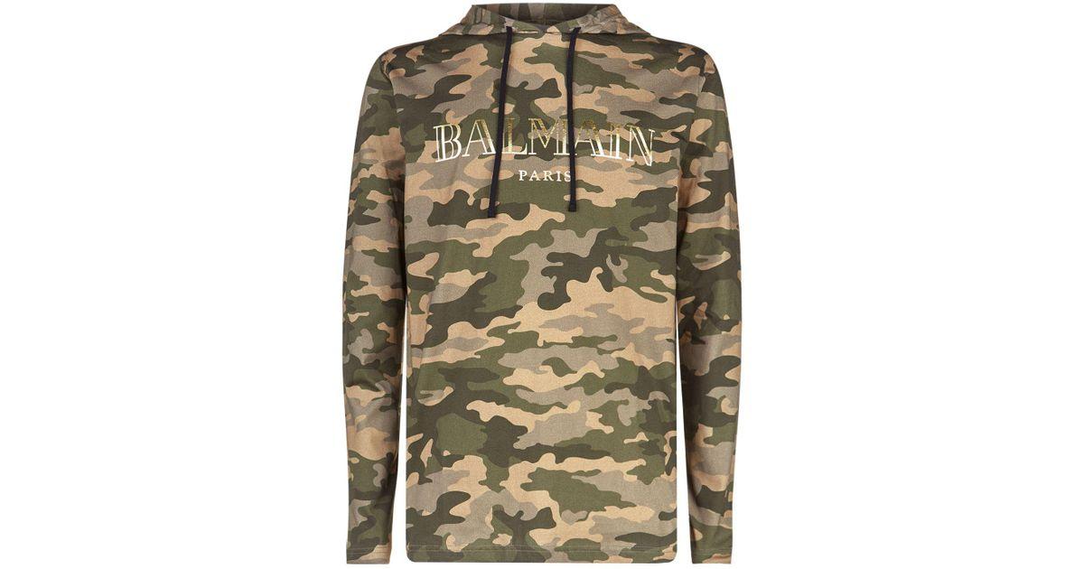 c9fcf4ac Balmain Camouflage Hooded T-shirt in Green for Men - Lyst