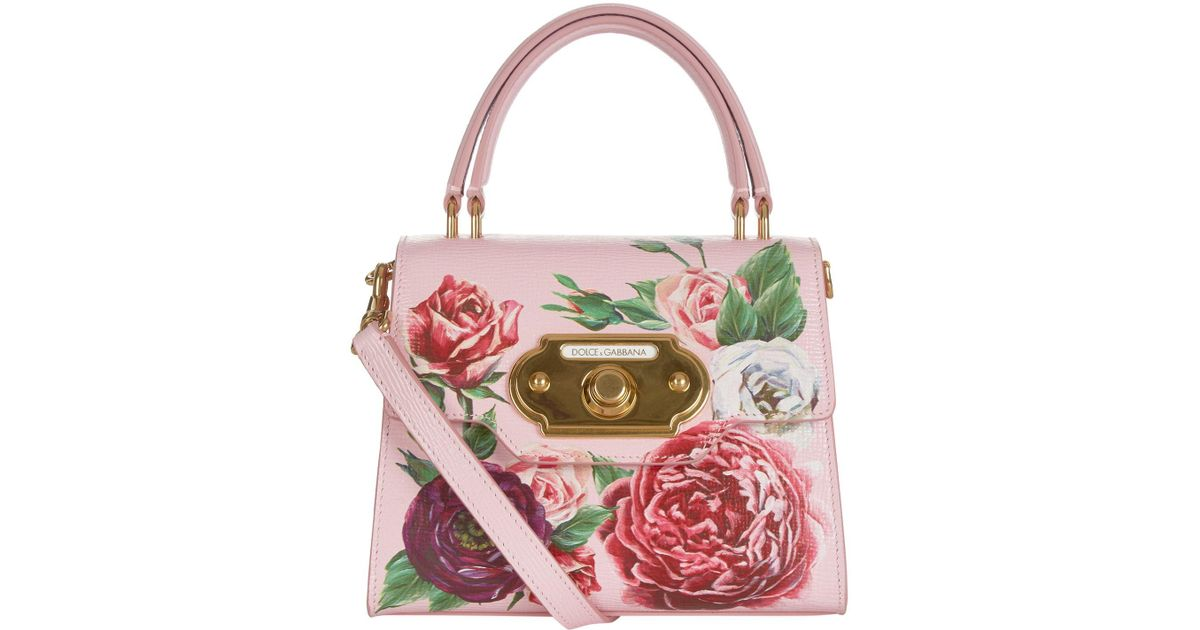 Lyst - Dolce   Gabbana Small Leather Peony Welcome Bag 250147dd268ca