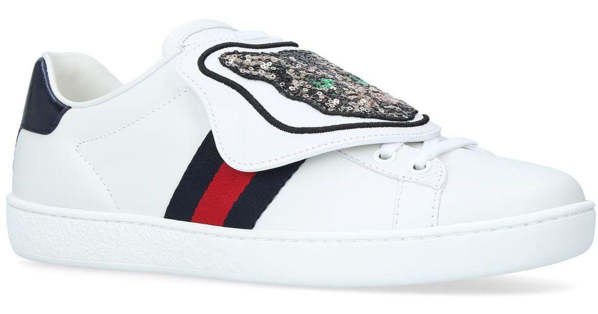 Gucci Denim Sequin Cat Ace Sneakers in