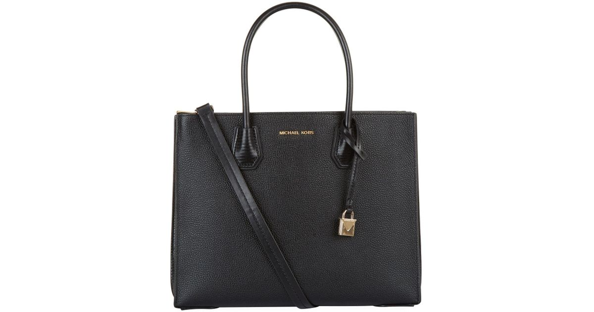 ... inexpensive michael michael kors large leather mercer tote bag in black  lyst 293a7 63eab 656c008ac