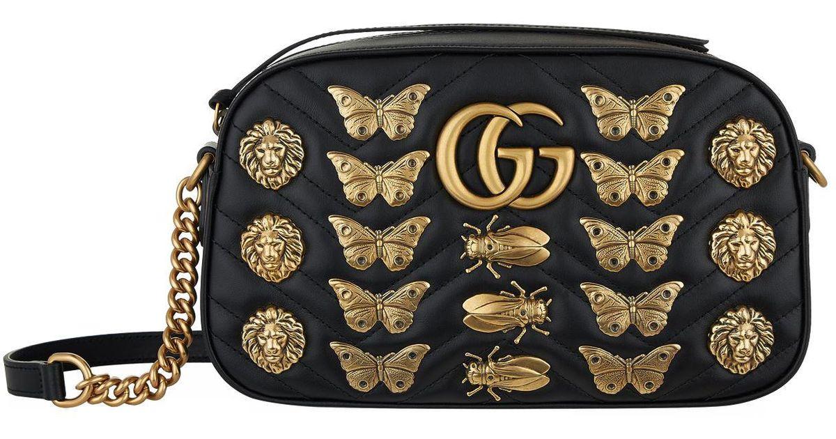 d06933732 Gucci Marmont Bug Matelass Shoulder Bag in Black - Lyst