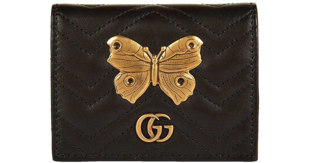 newest 2751c 0a4db Gucci Black Marmont Gold Bug Cardholder