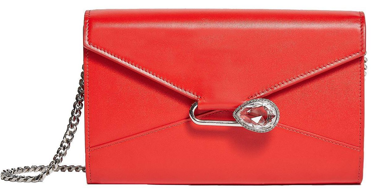 1bb306ee4924 Lyst - Alexander McQueen Leather Pin Wallet Bag in Red