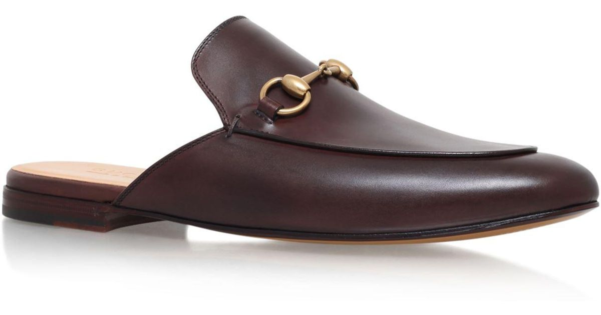 19346bb90913 Lyst - Gucci Leather Horsebit Slippers in Brown for Men