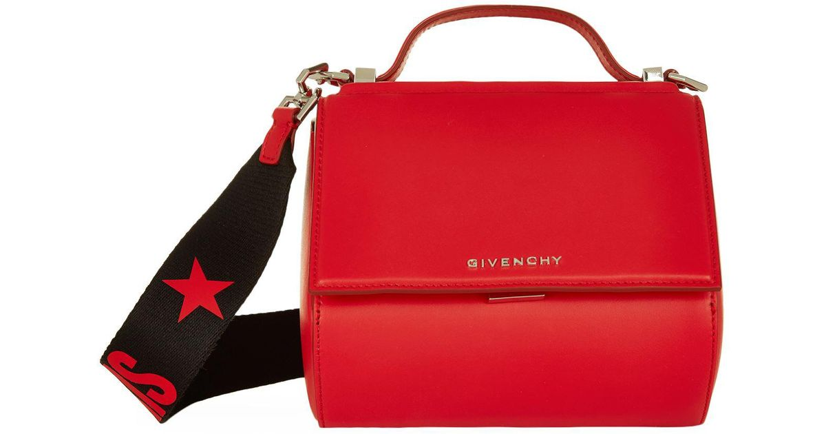 Givenchy Mini Pandora Box Logo Strap Bag in Red - Lyst 4df7809c424c6