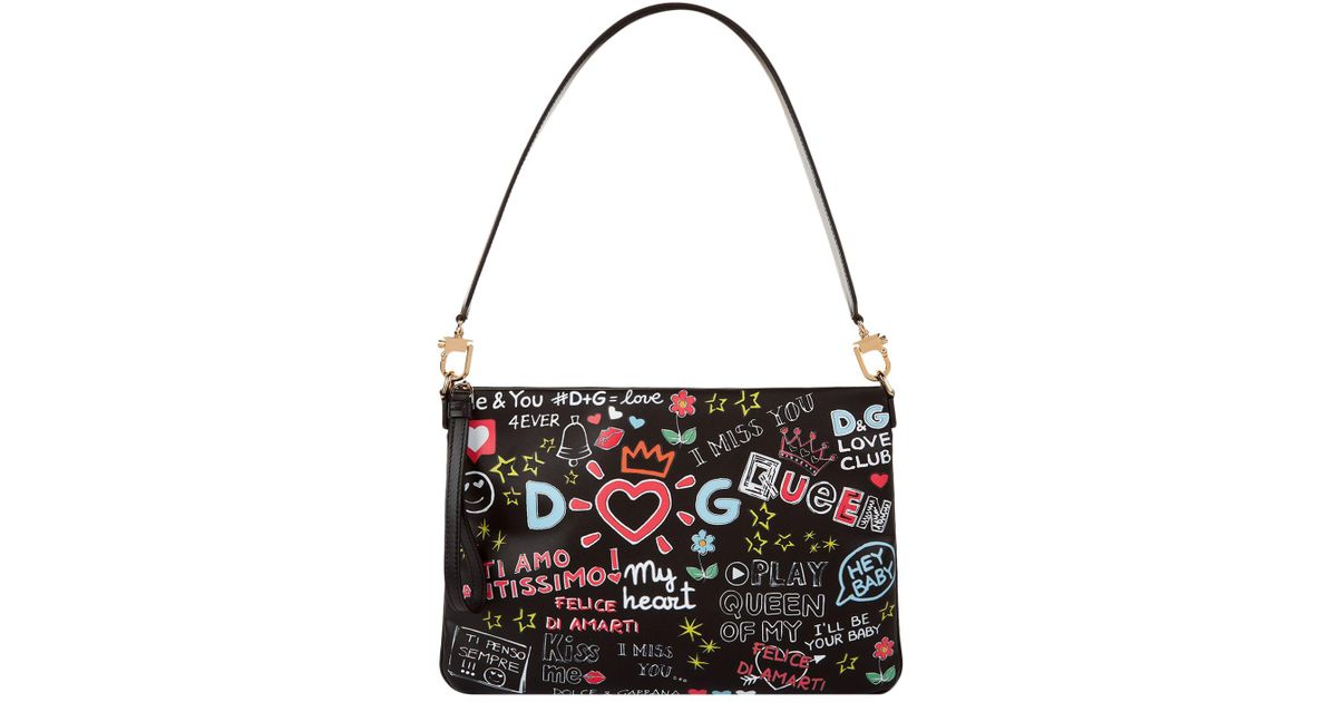 Dolce   Gabbana Mural Print Cleo Bag in Black - Lyst e80a34a615325