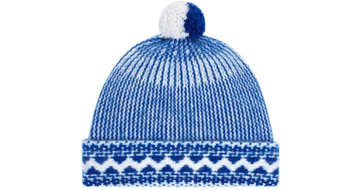 773015b5f Burberry Blue Fair Isle Bobble Hat