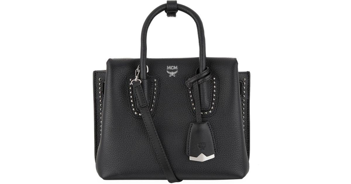 MCM Milla Mini Leather Tote Bag, Black