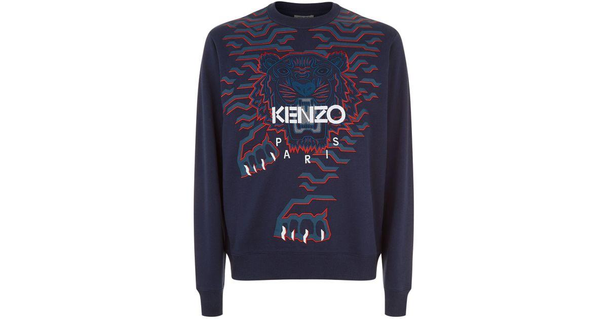 60b5760d KENZO Blue Crawling Tiger Sweatshirt for men