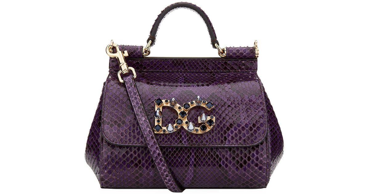 1bdeff34a1 Dolce   Gabbana Mini Sicily Embellished Python Shoulder Bag in Purple - Lyst