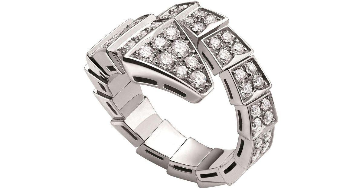 20da7fa7bee21 BVLGARI White Gold And Diamond Serpenti Ring in Metallic - Lyst