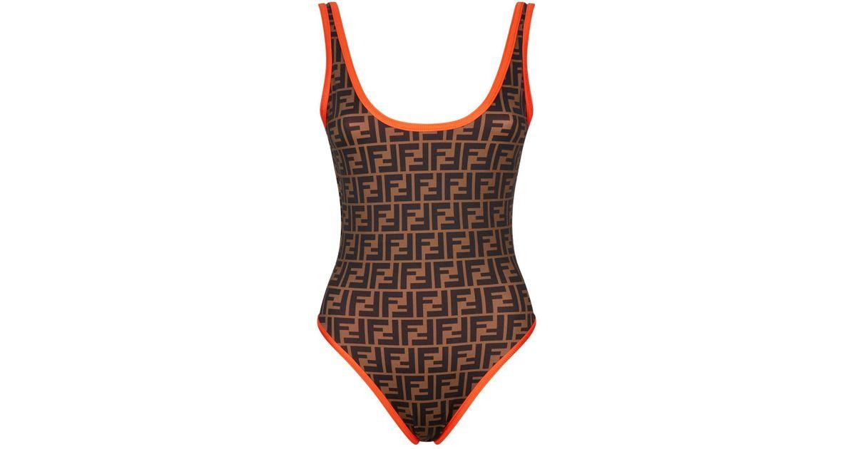 2dd61004791 Fendi Reversible Logo Swimsuit in Orange - Lyst