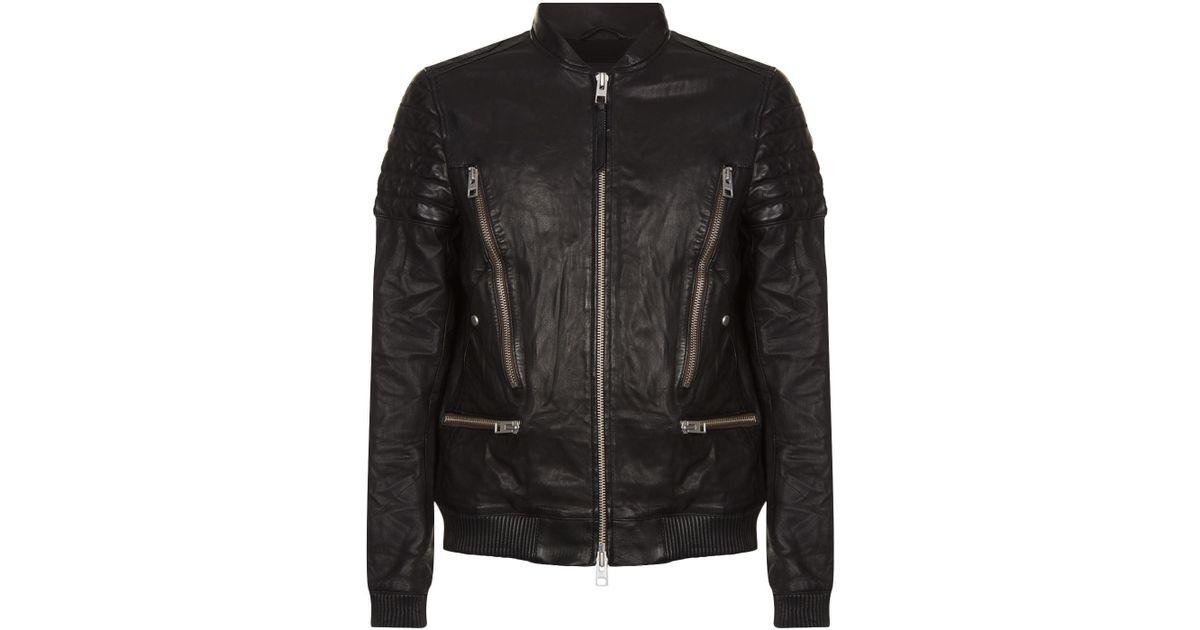 1058c12c1 AllSaints Black Sanderson Leather Bomber Jacket for men
