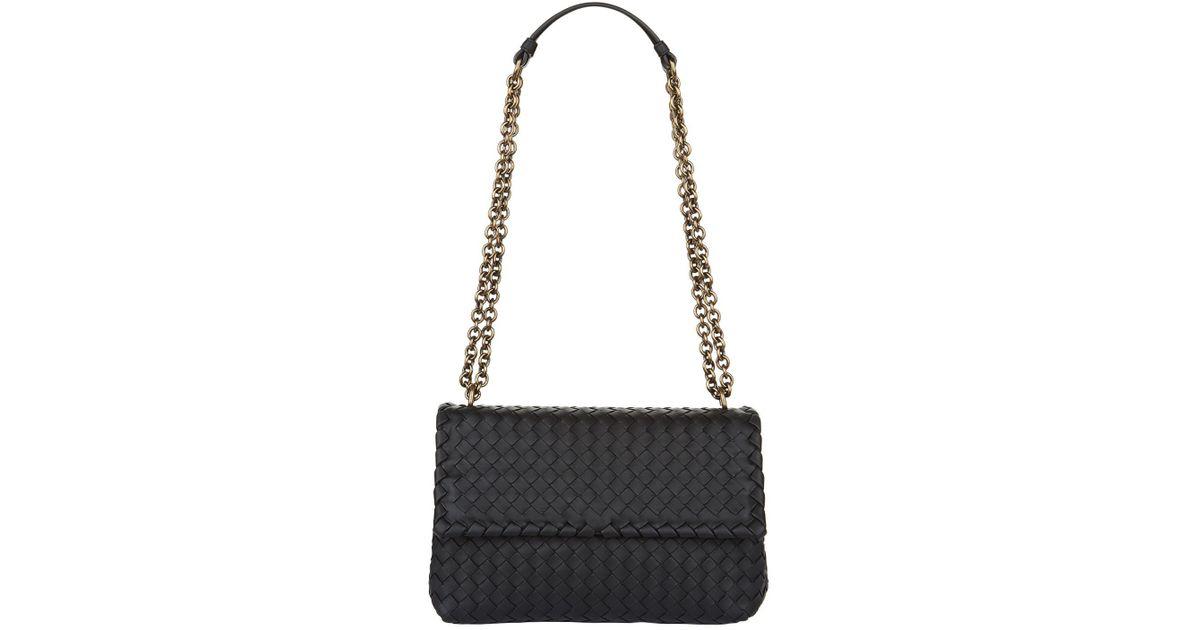 08bc23d77b Bottega Veneta Small Intrecciato Olimpia Shoulder Bag in Black - Lyst