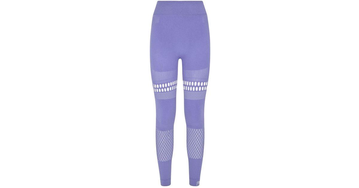 visto ropa motivo escocés  adidas By Stella McCartney Warp Knit Tights in Purple - Lyst