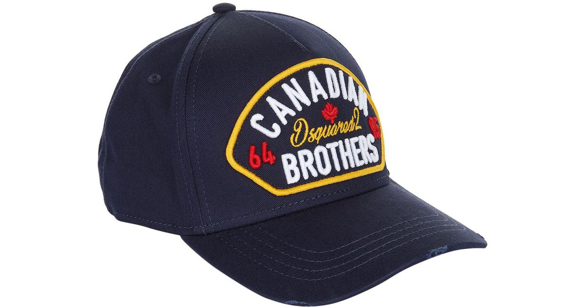 Dsquared² Canadian Brothers Cap in Blue for Men - Lyst 14ec4726714