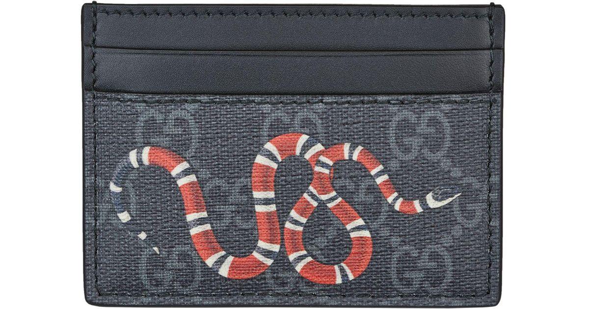 8d7110b70f0 Gucci Kingsnake Print GG Supreme Card Case in Black for Men - Save 24% -  Lyst
