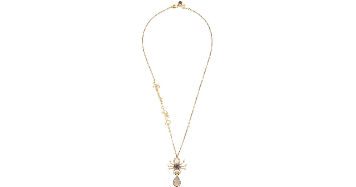 Lyst alexander mcqueen spider pendant necklace in metallic aloadofball Image collections