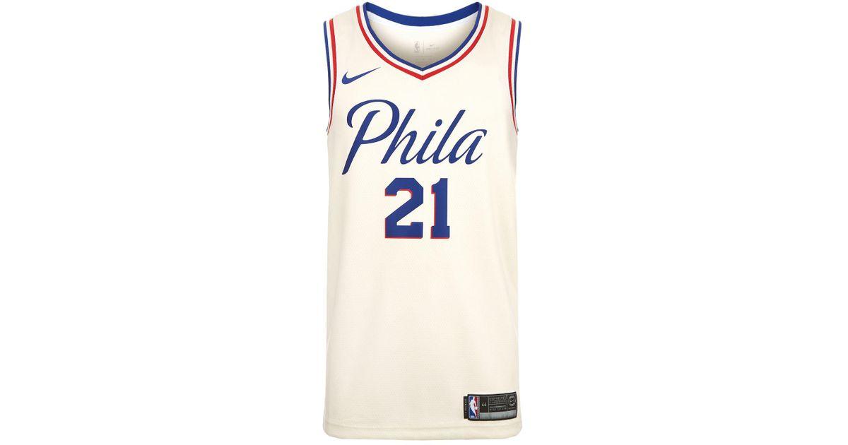 newest 8e2bd aa6dc Nike White Joel Embiid Philadelphia 76ers Basketball Jersey for men
