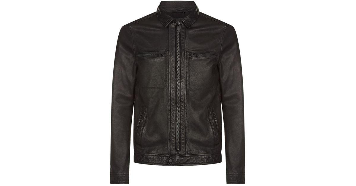 01dd79055 AllSaints Black Lark Leather Biker Jacket for men