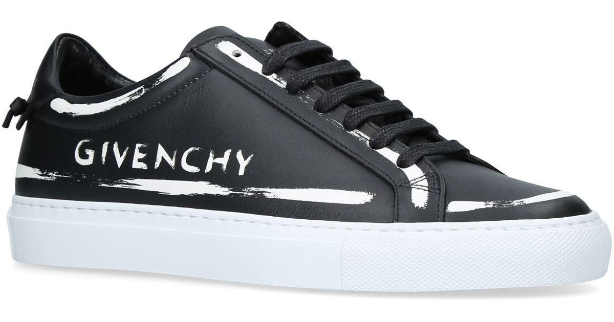 Givenchy Leather Logo Painted Low-top Sneakers in Black - Lyst a2649be15b