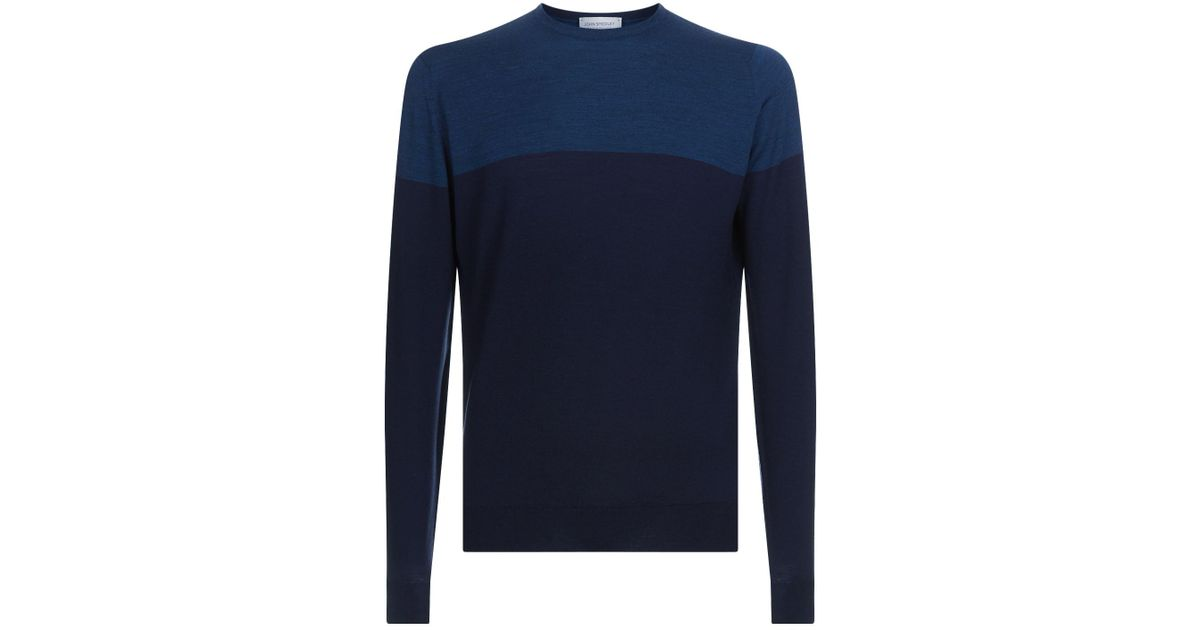 b7c65cefe Lyst - John Smedley Colour Block Merino Wool Sweater in Blue for Men