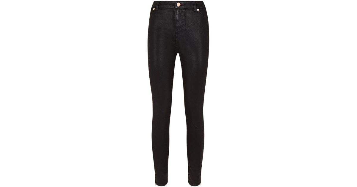 623e4f97568308 Ted Baker Aissats Waxed Skinny Jeans in Black - Lyst