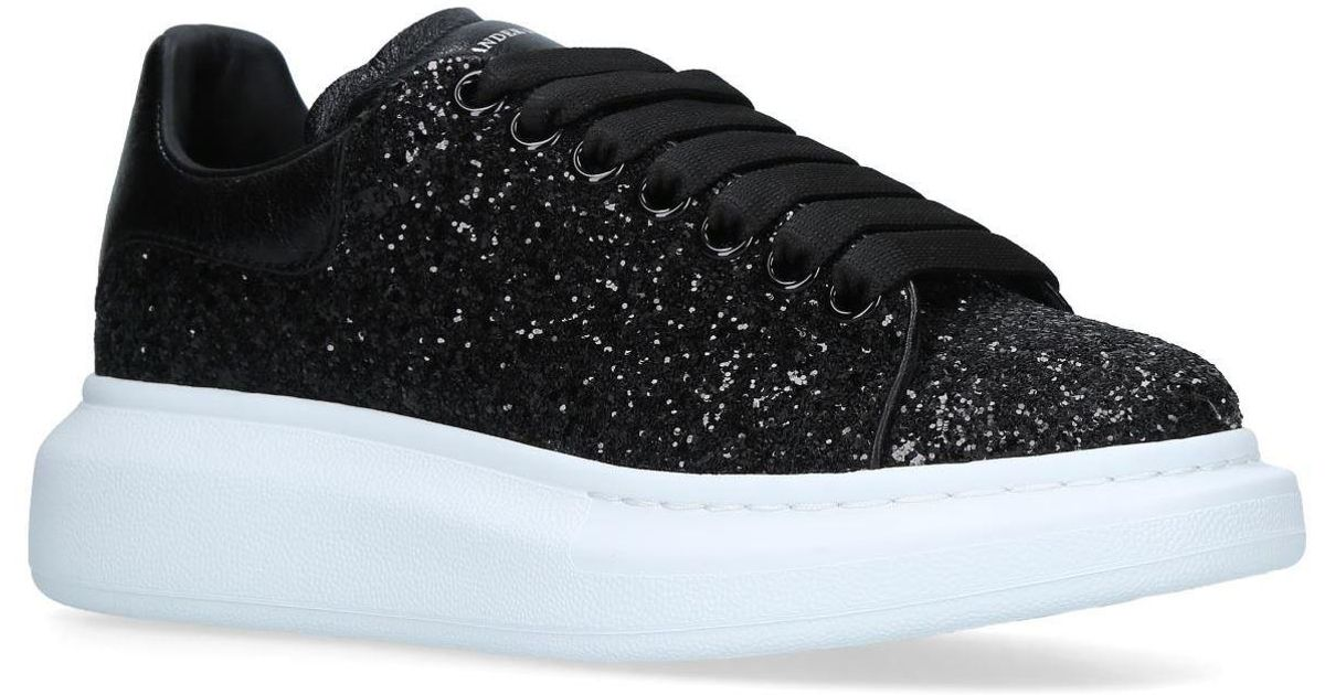 Alexander McQueen Black Lace-up Glitter Trainers