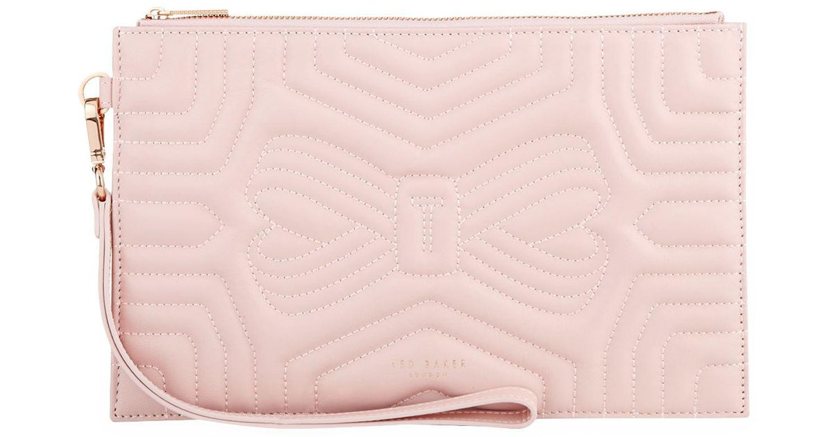 5b3aadf4d660 Ted Baker Leather Verda Bow Clutch Bag in Pink - Lyst