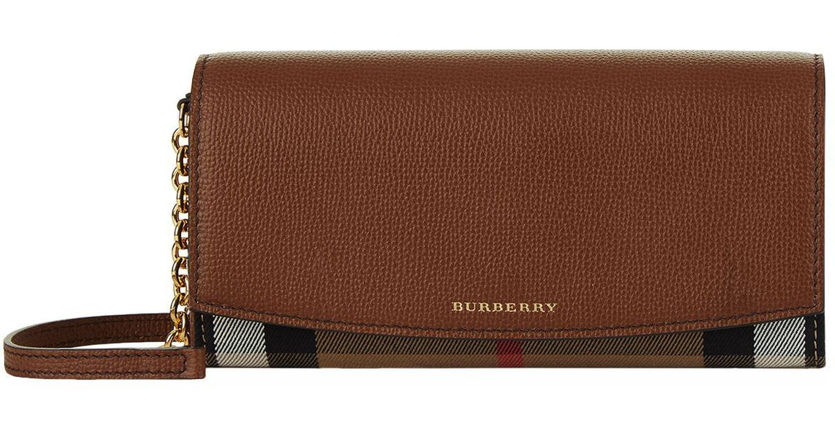 236c44d300e2 Lyst - Burberry House Check Wallet With Chain in Brown