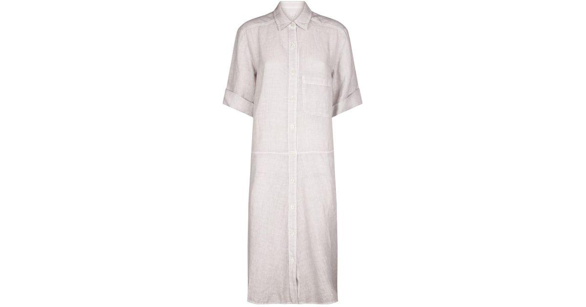 59815b2212 120% Lino Linen Shirt Dress in Blue - Lyst