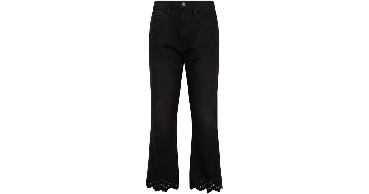 Jeans Black Lyst Schiffly Lacey Crop In Flare Frame aXq7O