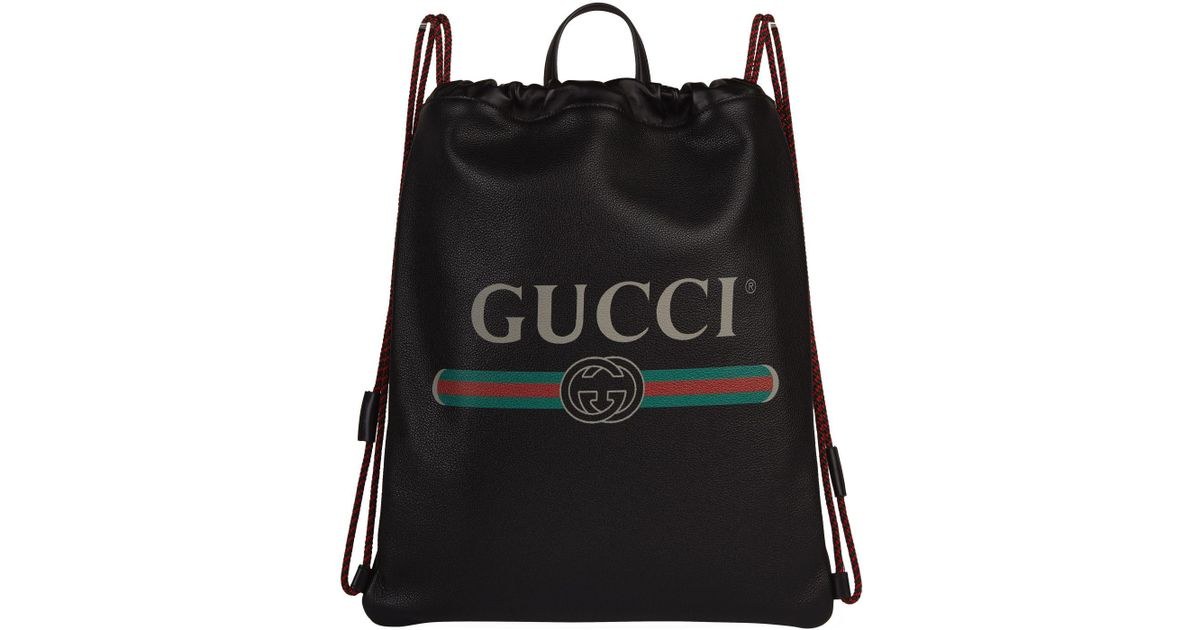 595a8bf547e836 Gucci Leather Zaino Drawstring Backpack in Black for Men - Lyst