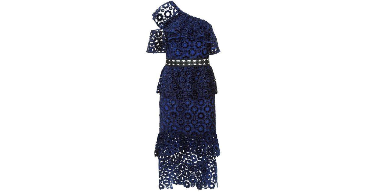 c3af8f57d2c Lyst - Self-Portrait One Shoulder Velvet Lace Midi Dress in Blue
