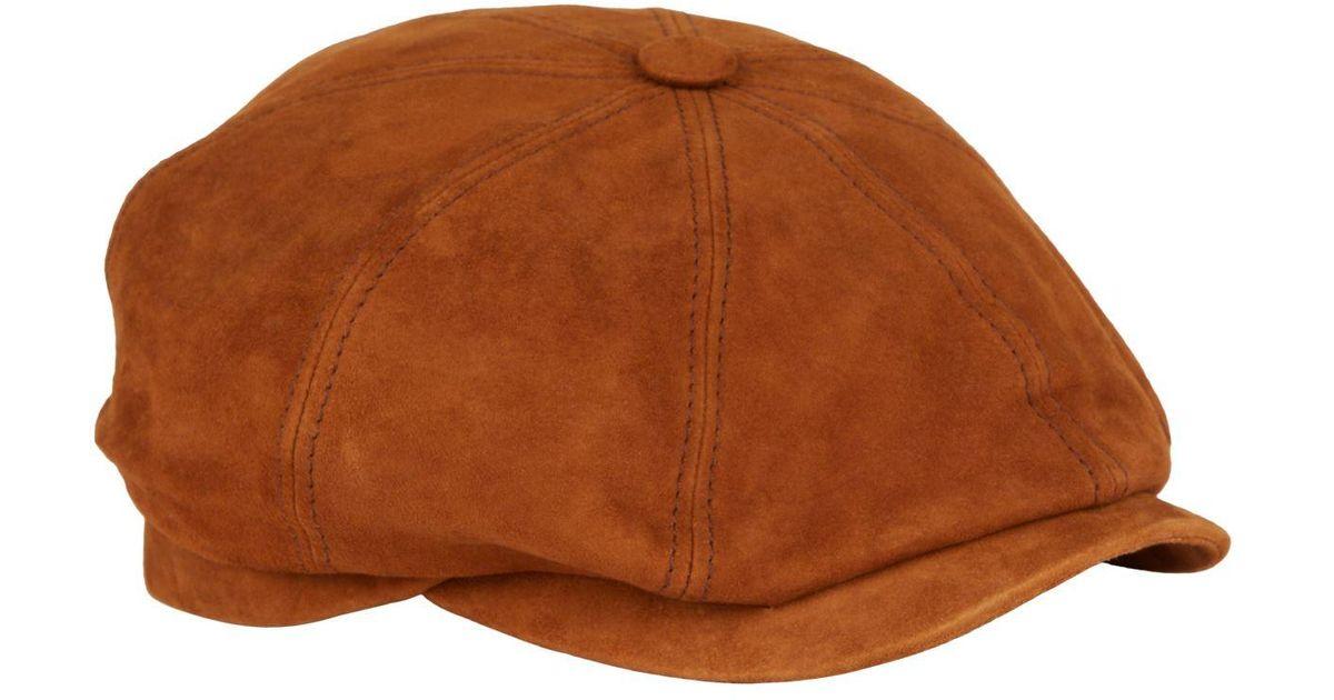 Stetson Hatteras Goat Suede Flat Cap Men Caps leather cap men/´s ivy
