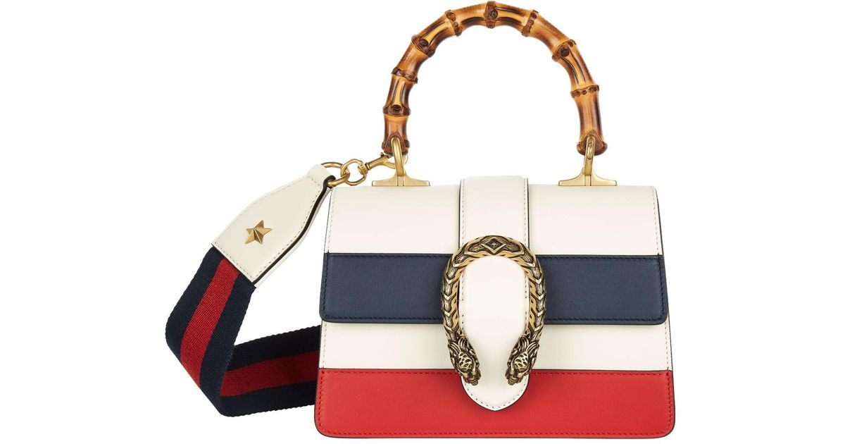 99f48e97eefe Gucci Small Striped Dionysus Bamboo Top Handle Bag - Lyst
