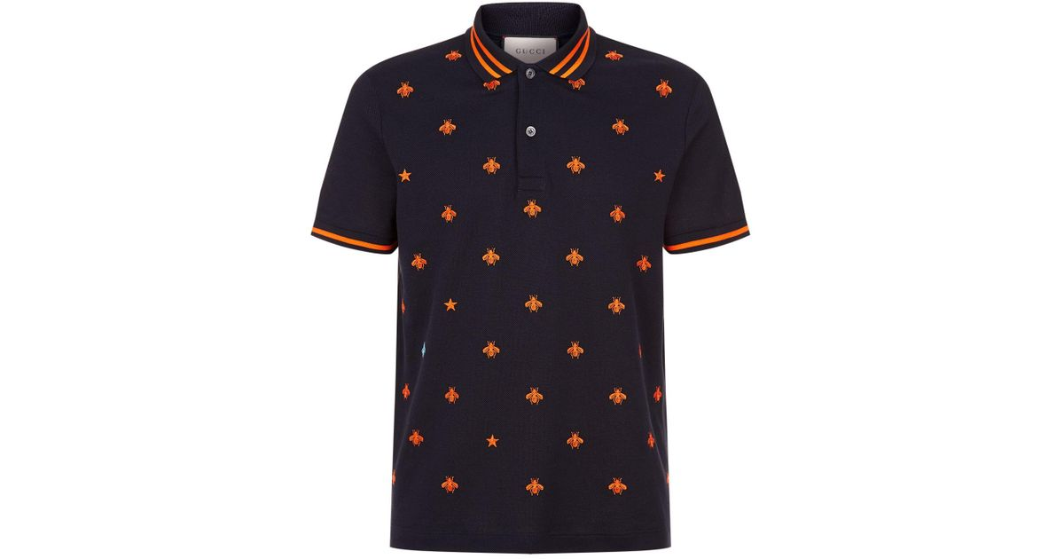 130b6318694 Gucci Embroidered Bee Polo Shirt in Blue for Men - Lyst